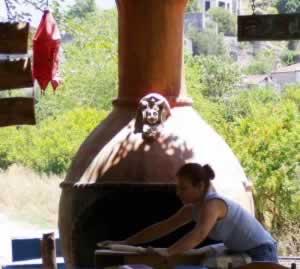 Turkish woman making Gozleme