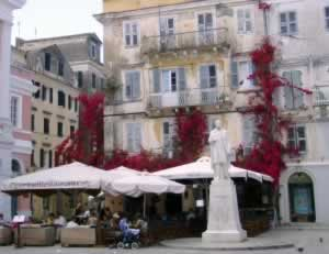 Flowers take over old building in Corfu, Greece