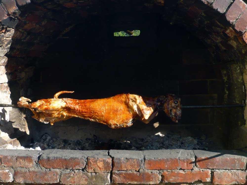 Whole lamb grilling