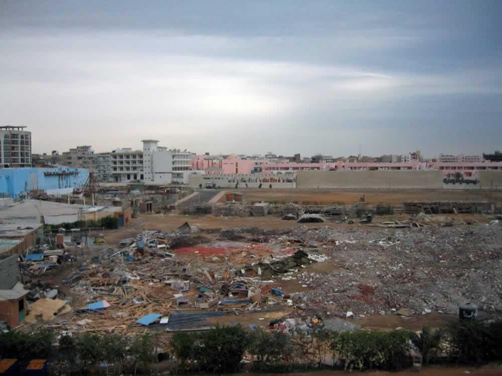Hurghada, Egypt - rubbish pile outside resorts