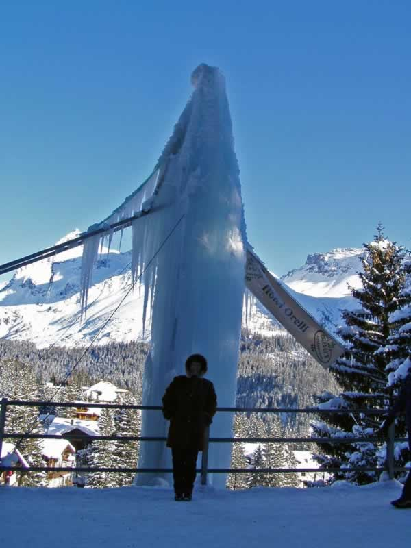 Huge Icicle in Arosa, Switzerland