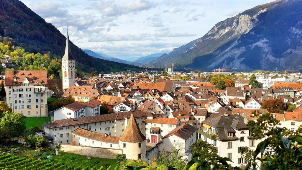 Swiss Oldest Town - Chur - aerial view
