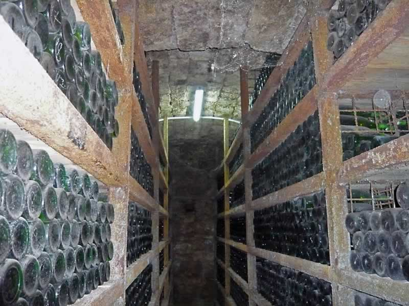 Dusty wine bottles on shelves in cellar