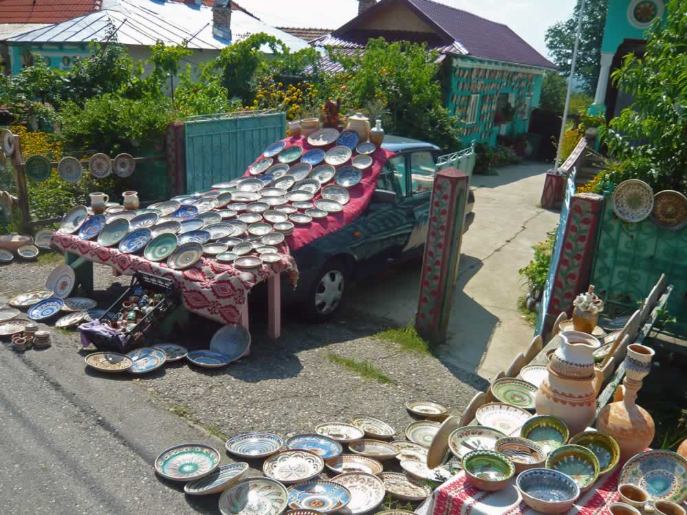 Pottery on Old Dacia Car in Olari