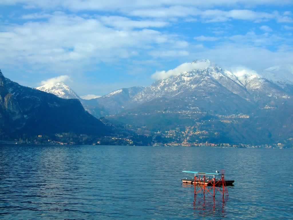 Lake Como with Snowy Mountains
