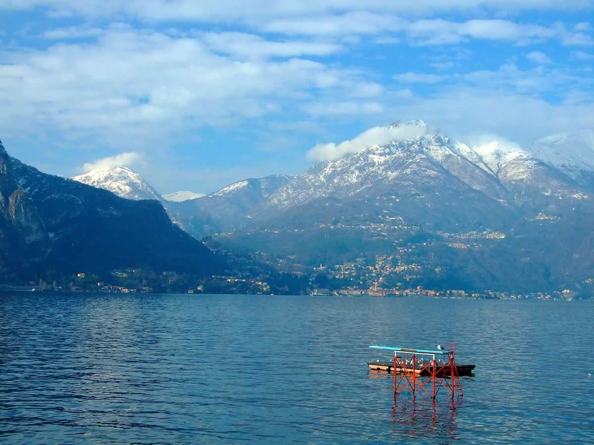 Lake Como with Snowy Mountains