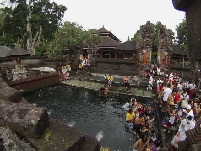 Hot spring water at Tirta Empul, Bali