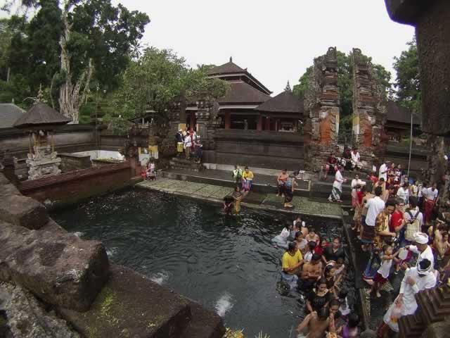 Hot spring water at Tirta Empul, Bali