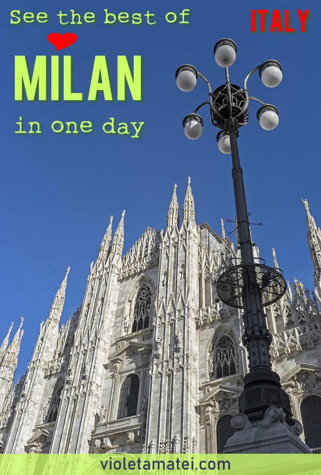 Milan Duomo facade on deep blue sky