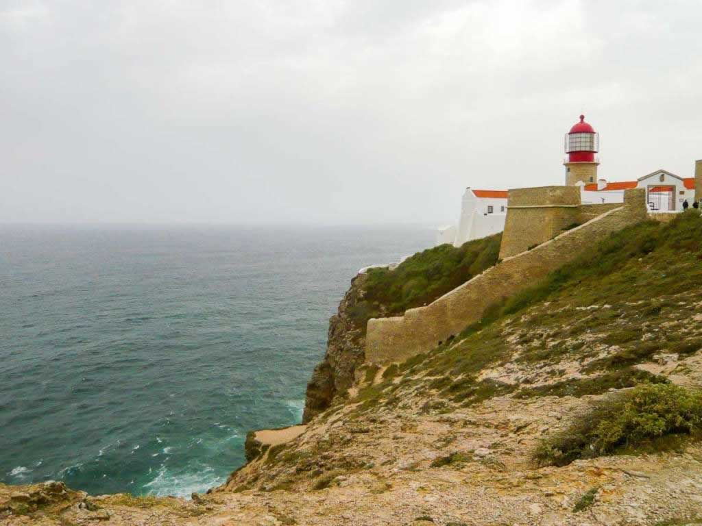 Sagres Portugal lighthouse on cliffs