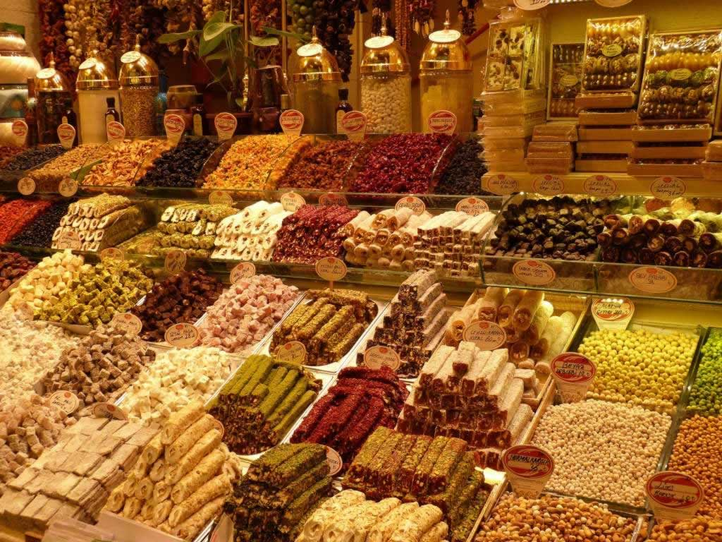 Istanbul bazaar foods and spices