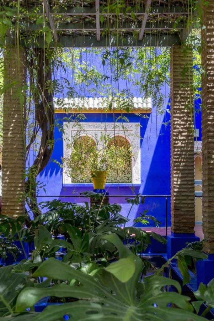 Majorelle blue wall with windows