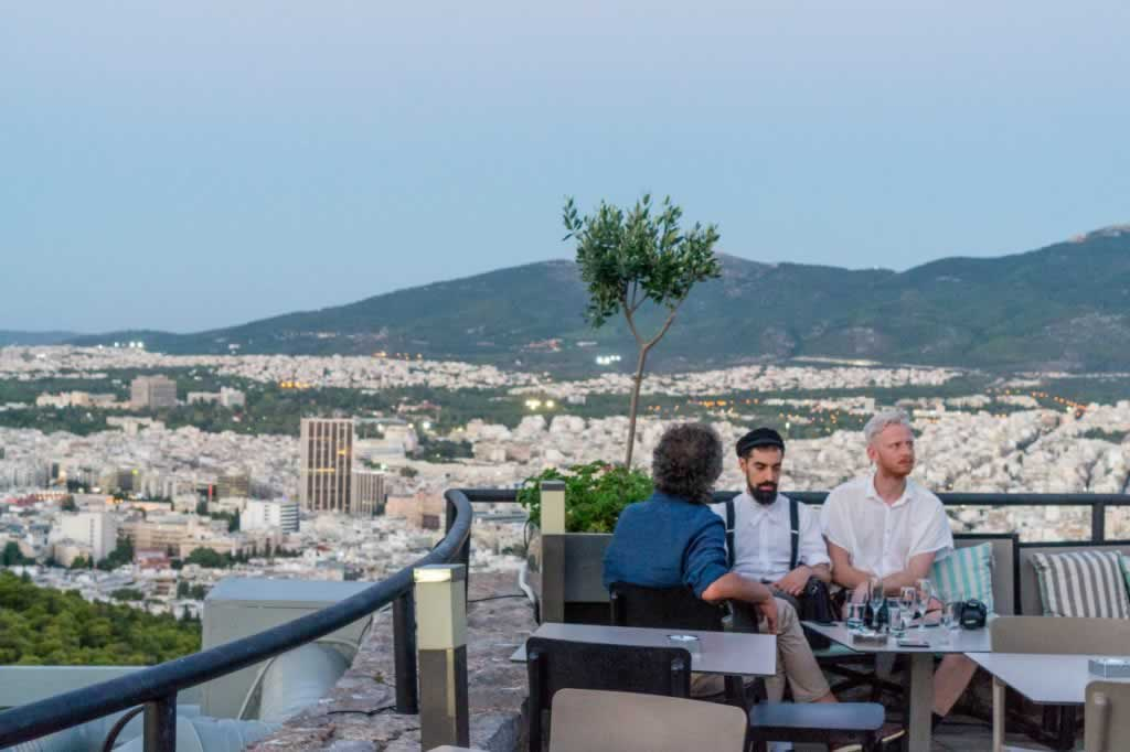 People at the Restaurant of Lycabettus Hill in Athens