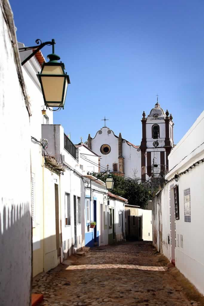 Silves, Algarve Portugal - street and cathedral