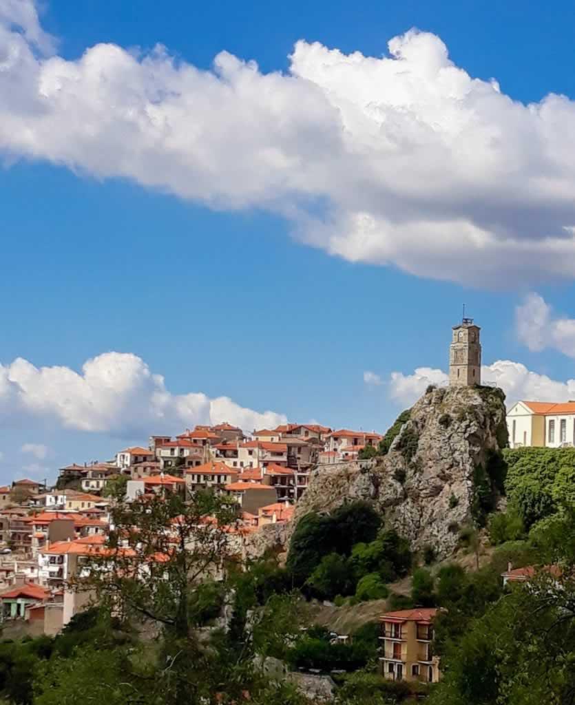 Arachova, Greece - Houses, Church & Cloudy Sku
