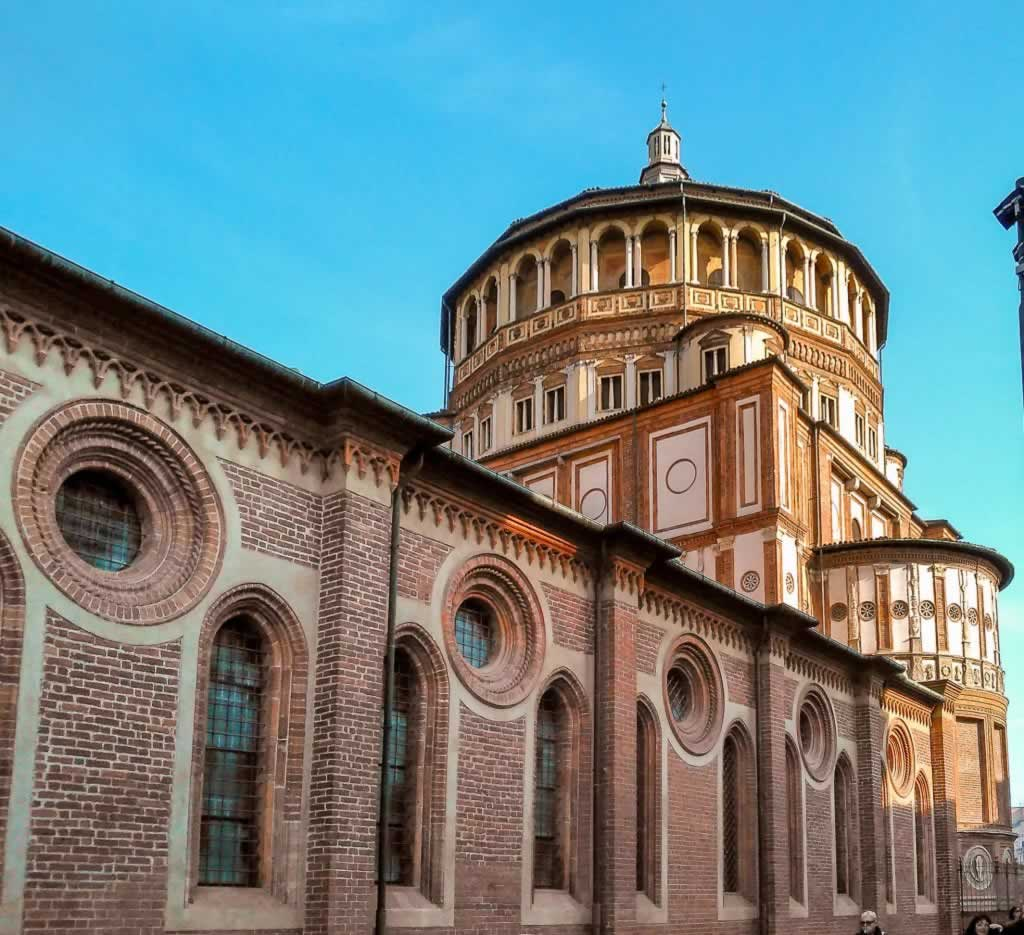 Outer Wall of Santa Maria delle Grazie Church in Milan, Italy
