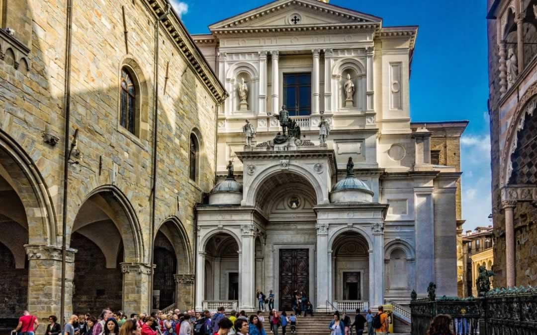 Bergamo, Italy upper Bergamo church and square
