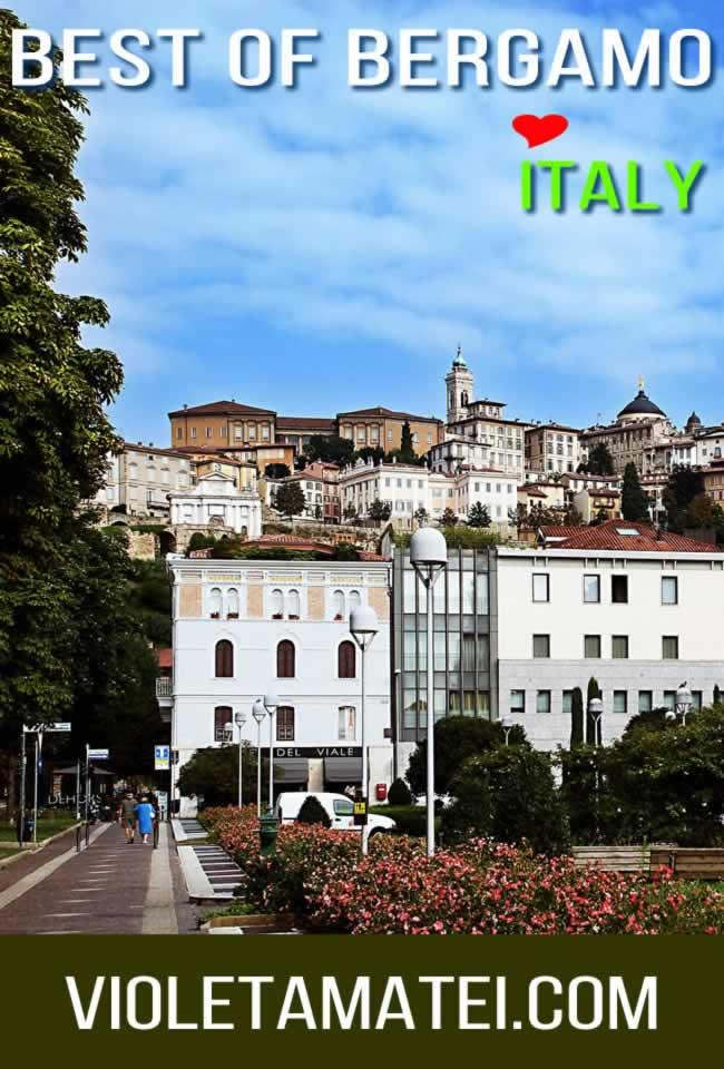 Bergamo Italy - View of Citta Alta from Lower Bergamo