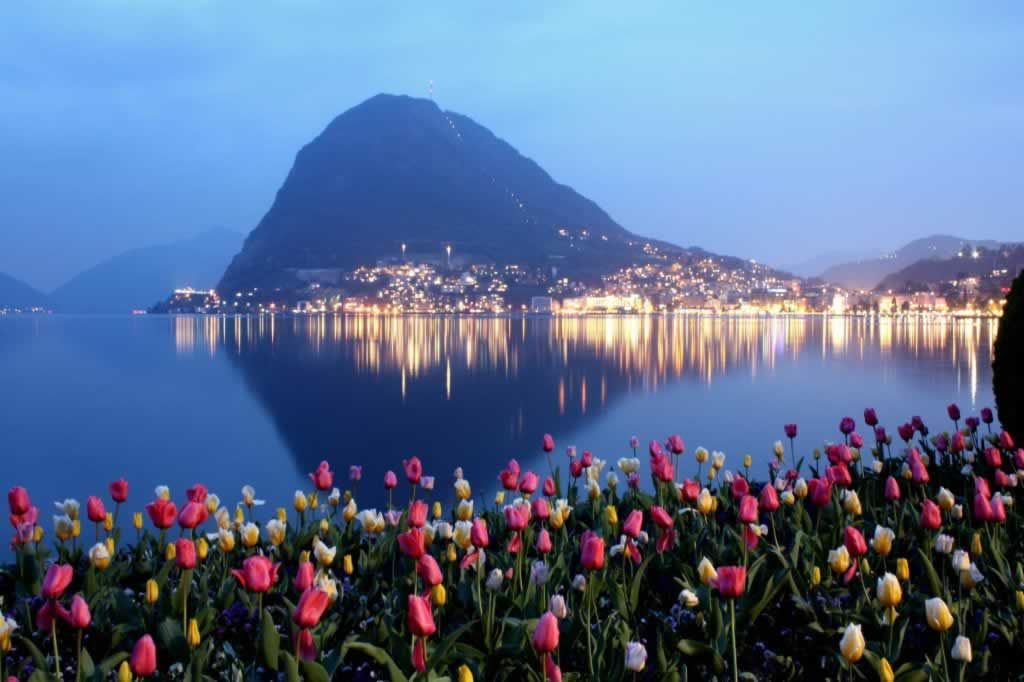 Mount Bre in Lugano Switzerland with tulips in foreground