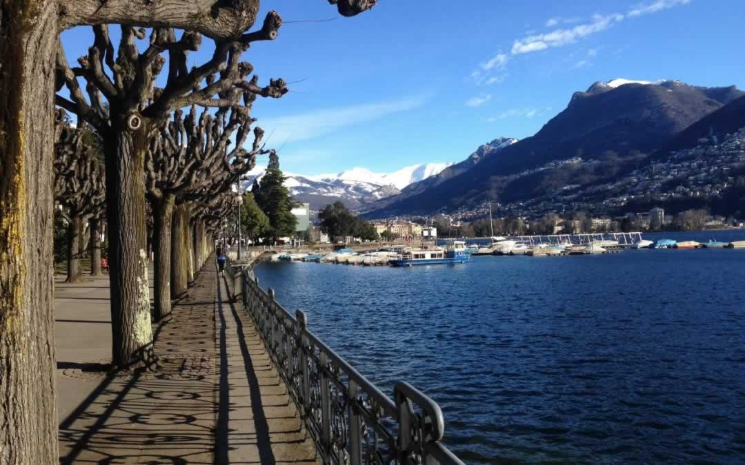 Lugano Switzerland lakefront promenade with trees
