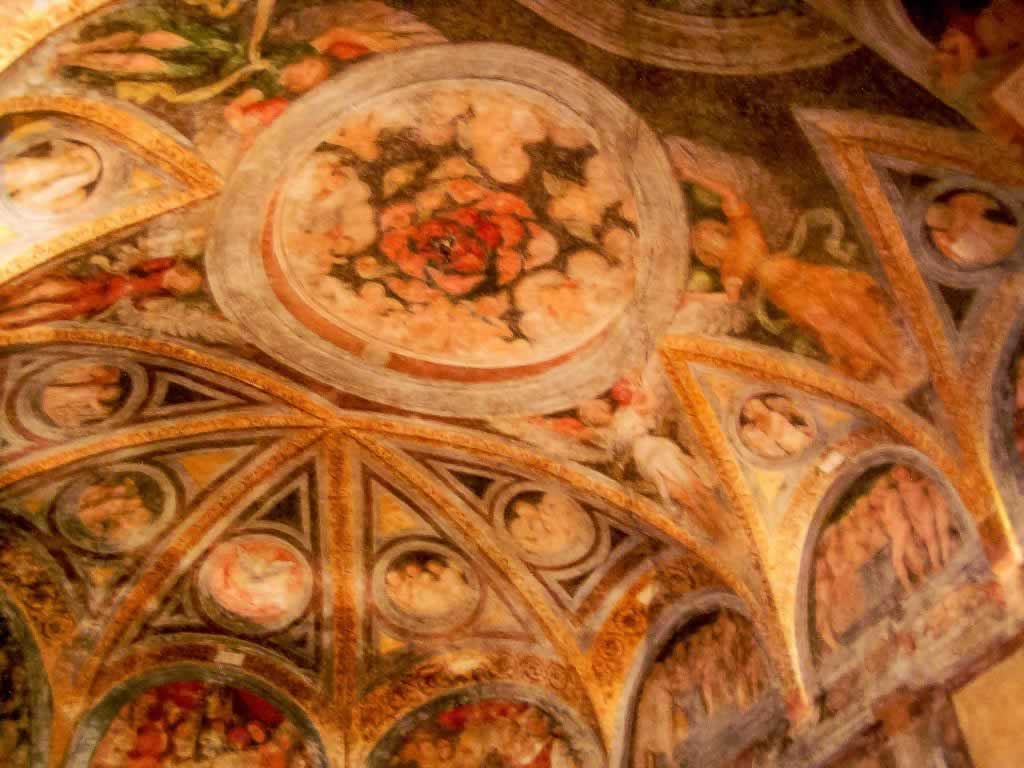Santa Maria Degli Angeli Church in Lugano, Switzerland - ceiling painting detail with flower
