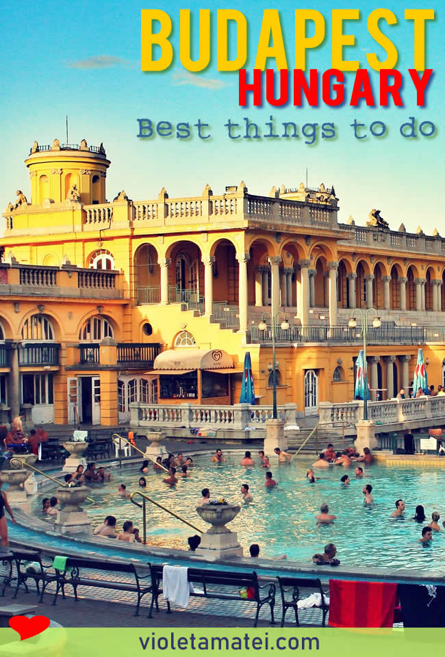 Szechenyi Baths Budapest with sun and people