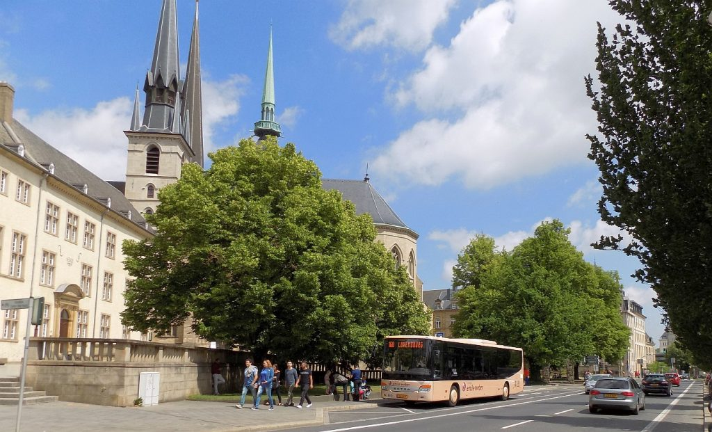 Luxembourg City - view from the center, with trees and bus