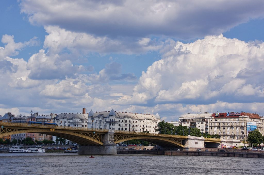 Margaret Bridge Budapest with White Clouds