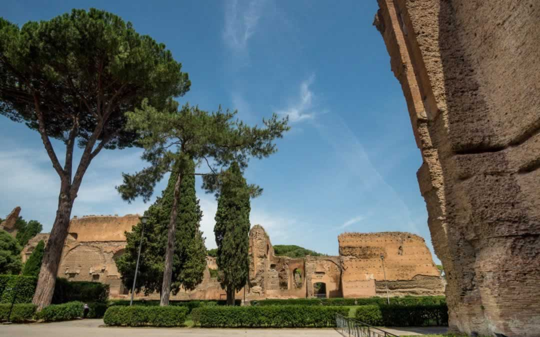 Baths od Caracalla in Rome, with remainders of the ancient walls and with very tall pine trees.