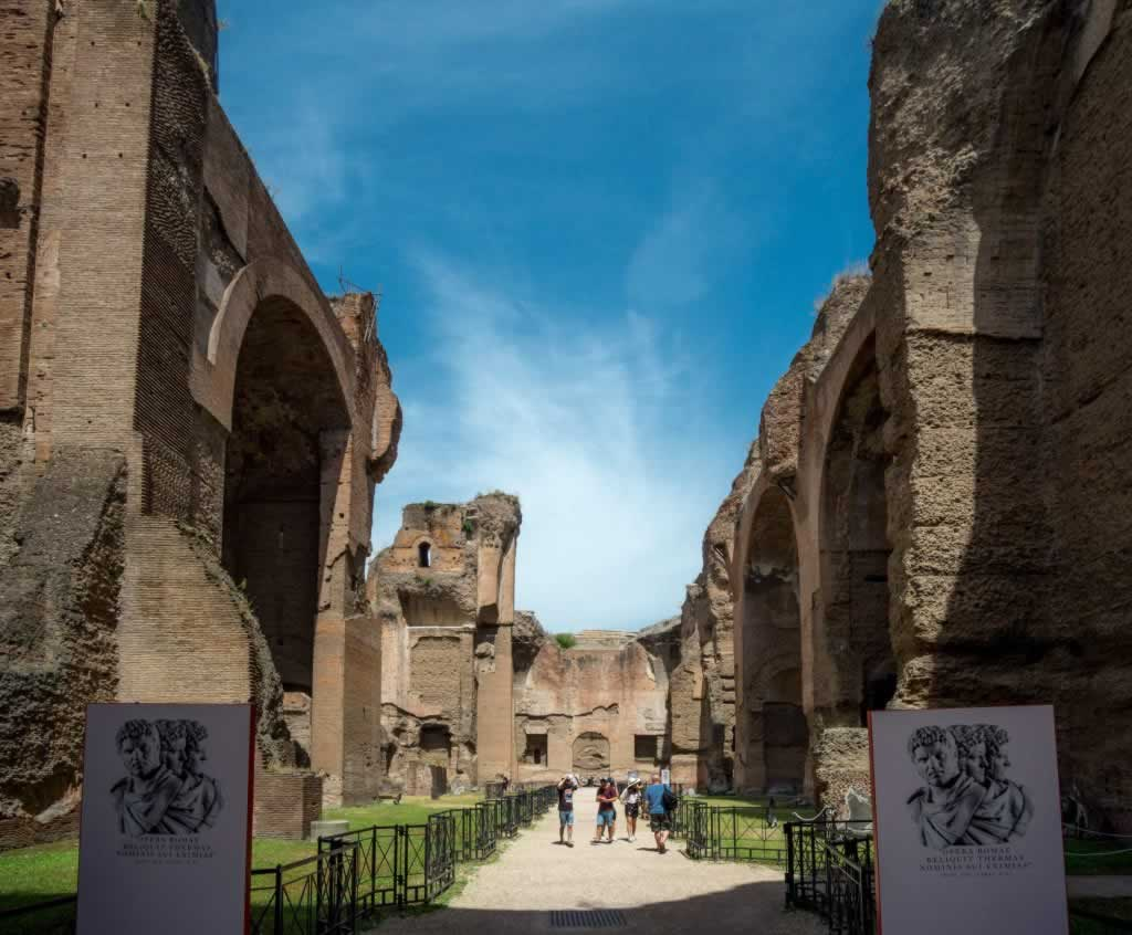 Baths of Caracalla - succession of chambers connected through archways and corridors