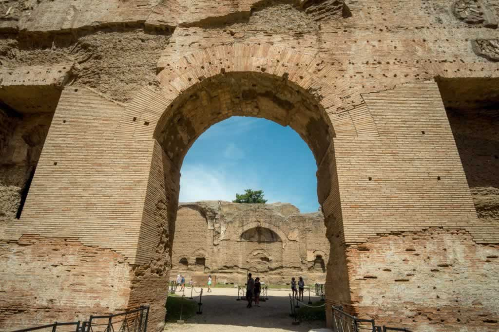 Baths of Caracalla in Rome are among the best preserved ancient Roman public baths. This is a giant archway connecting two of the chambers of the bath complex.