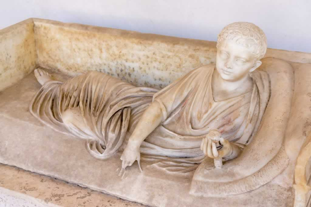 Child sarcophagus in the Baths of Diocletian in Rome