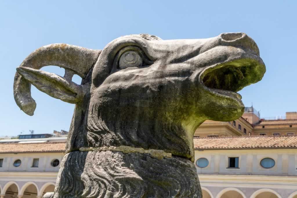 Baths of Diocletian museum in Rome - colossal animal head ram