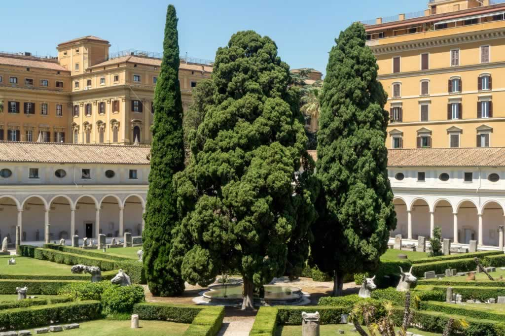 Diocletian Baths in Rome - interior yard with trees and pillars