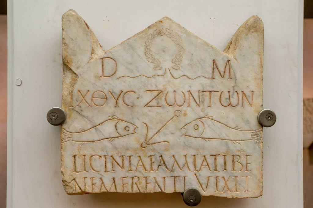 ICHTUS inscription in the Baths of Diocletian in Rome