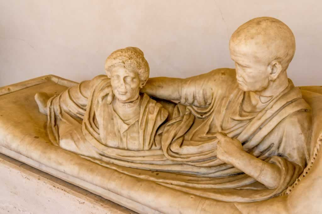 Couple sarcophagus in the Baths of Diocletian in Rome