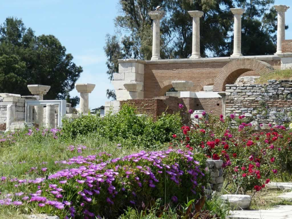 Ephesus in Turkey - ruins of the ancient city and flowers