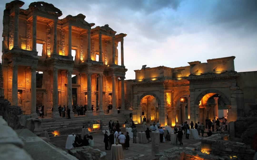 Ephesus - the Library of Celsus lit by night