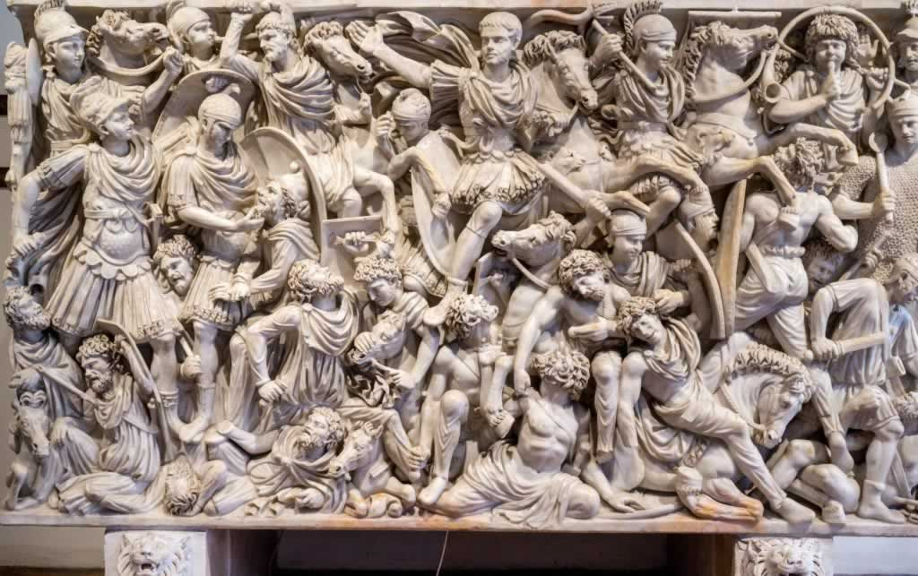 Ludovisi Battle Sarcophagus in Palazzo Altemps, Rome