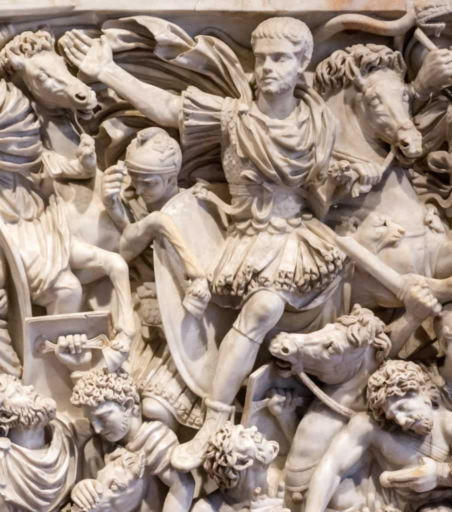Ludovisi Battle Sarcophagus in Palazzo Altemps, Rome - detail with Roman Soldier with X on His Forehead