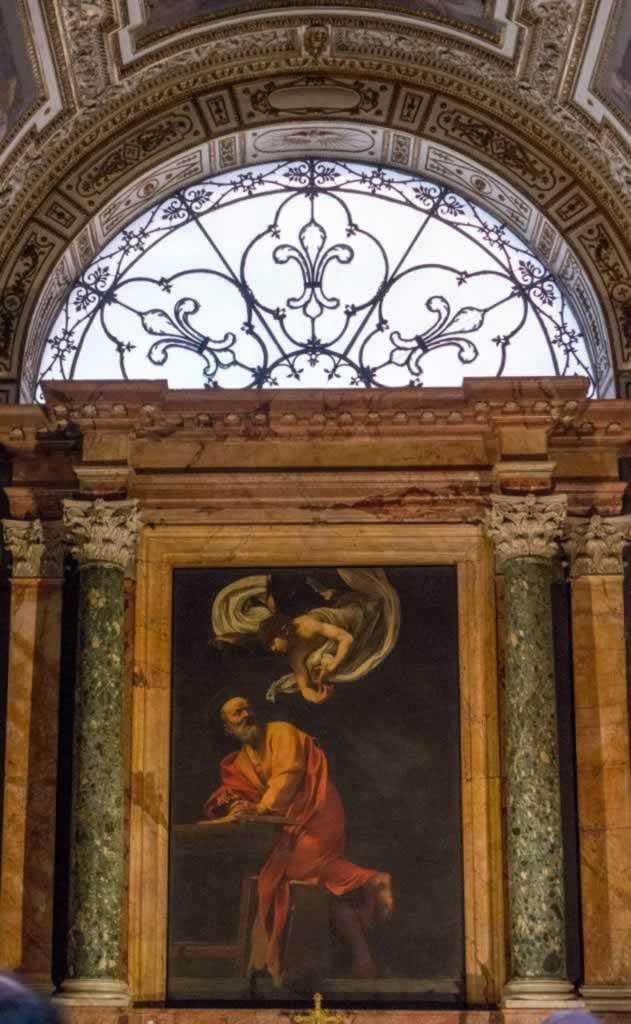 SAn Luigi dei Francesi Church in Rome, baroque style, Caravaggio paintings, beautiful ceilings