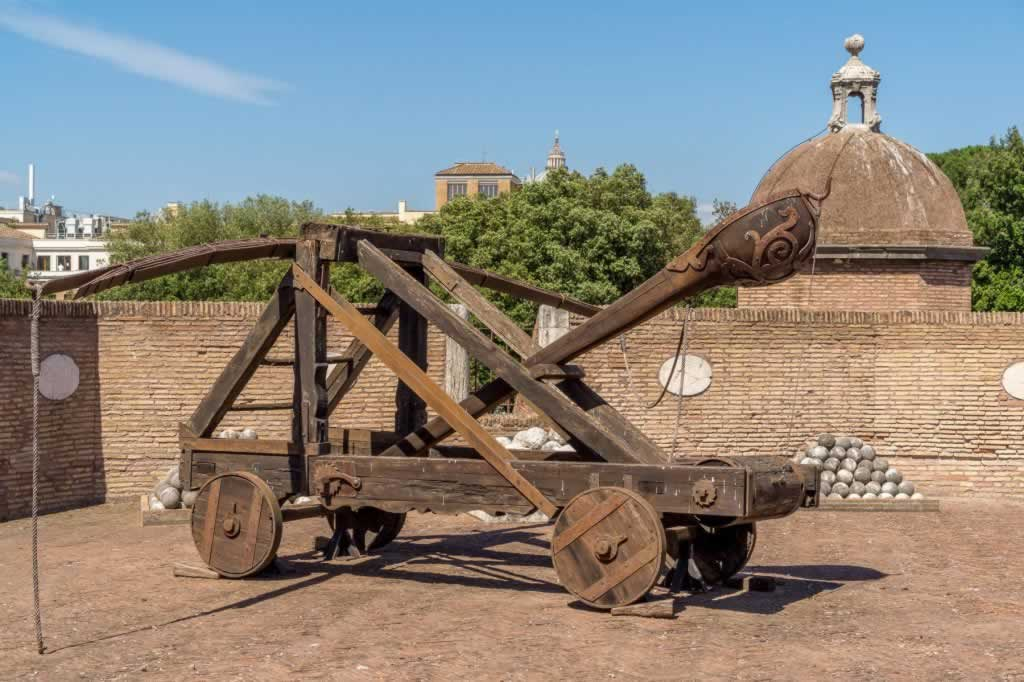Ancient catapult in Rome, in Castel Sant' Angelo