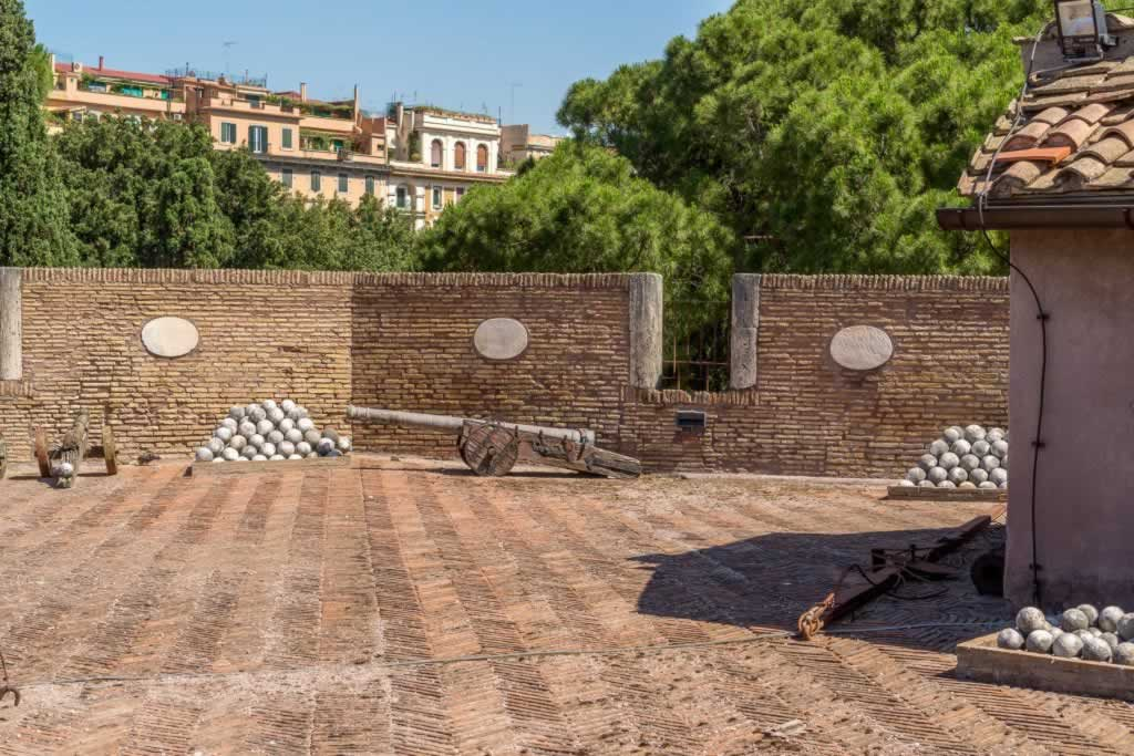 Bastion of San Marco in Rome, in Castel Sant' Angelo - the terrace with cannons and cannonballs