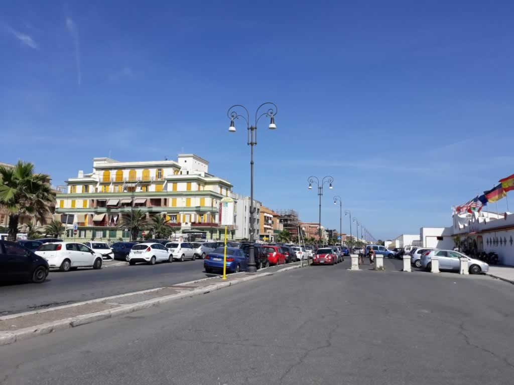 Ostia Beach main road and beachfront promenade