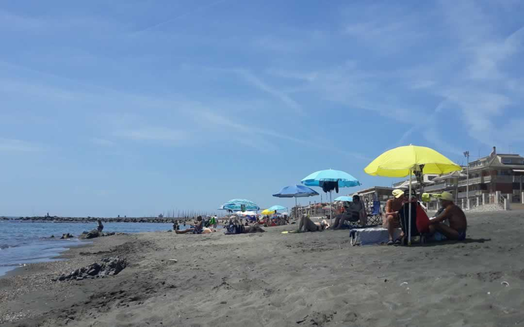 Umbrellas on Ostia Beach near Rome
