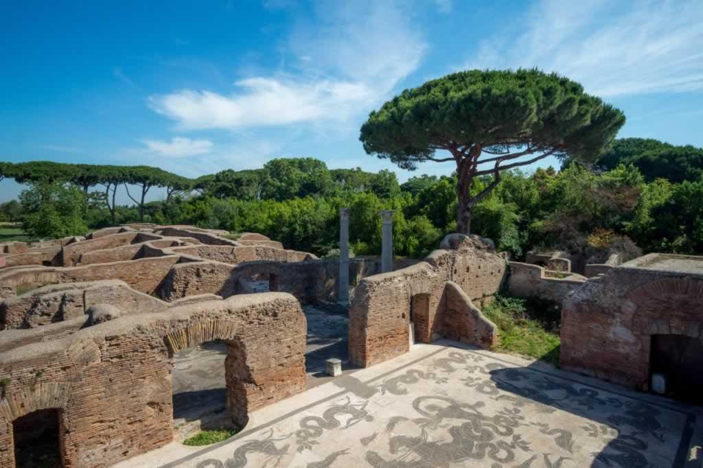 Ostia Antica city houses with mosaic floors