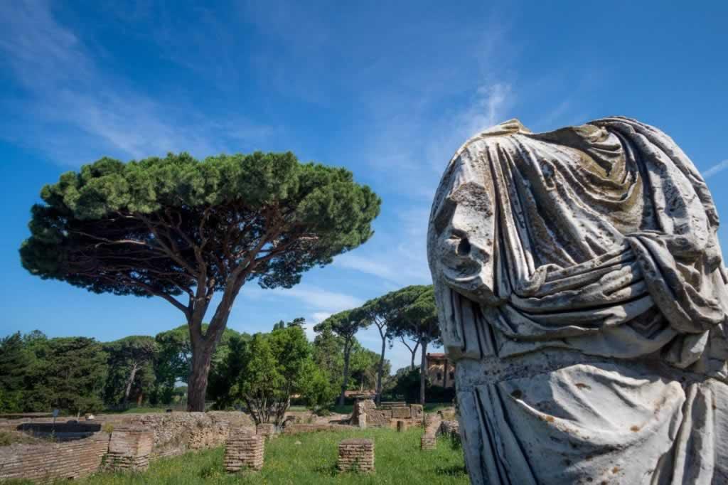 Ostia Antica landscape with headless statue