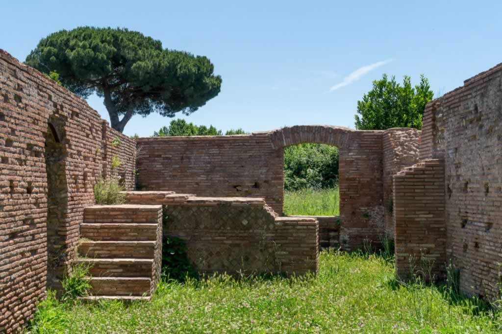 Stairs and ruins at Ostia Antica in Rome