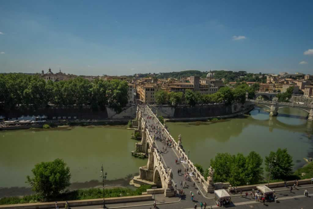 Castel Sant' Angelo view with the Tiber and Sant Angelo Bridge