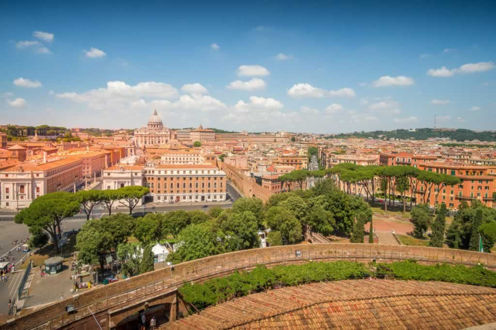 View of Rome from Castel Sant' Angelo, with San Pietro Basilica in sight